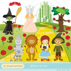 wizard of oz cute digital clipart for commercial or personal use rh pinterest com wizard of oz clip art free wizard of oz clip art pictures