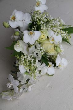 The Flower Magician: A Fabulous Cascading Bridal Bouquet of Fresh Lily of the Valley, Roses & Phalaenopsis Orchids