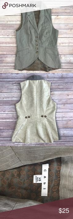 """CABI WAISTCOAT LIVERPOOL RIDING VEST CABI WAISTCOAT LIVERPOOL RIDING VEST BROWN & GOLD BROCADE SIZE XS gently used condition. smoke free home  armpit to armpit 16"""" length 22""""   q CAbi Jackets & Coats Vests"""