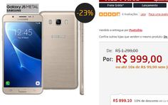 """Samsung Galaxy J5 Duos Metal Dourado com 16GB, Dual chip, Tela 5.2"""", 4G, Câmera 13MP, Android 6.0 e Processador Quad Core de 1.2 Ghz >"""