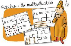 Jeu : Puzzles des multiplications ( additions réitérées) - Bout de gomme