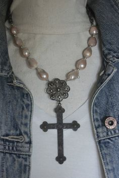 Coronation-Vintage assemblage necklace with genuine baroque pearls by frenchfeatherdesigns on etsy