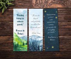 Printable bookmarks, watercolor bookmarks / set of three printable bookmarks / Book lovers gift / In Watercolor Bookmarks, Paper Bookmarks, Printable Bookmarks, Hand Drawn Logo, Hand Logo, Watercolor Illustration, Watercolor Art, Creative Bookmarks, Bookmark Craft