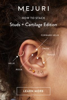 Cool Ear Piercings, Types Of Ear Piercings, Cartilage Piercings, Cartilage Earrings, Piercing Chart, Piercing Ideas, Inner Ear Tattoo, Tattoo For Son, Ear Jewelry