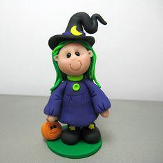 Halloween Witch polymer clay Figurine.