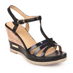 Sandales compensées avec 3 lanières noir