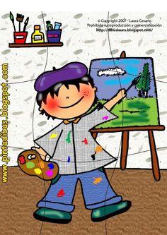 Puzzle for preschool, art theme, free printable