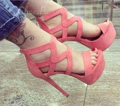 Graceful Solid Color Cut-Outs Cloth #DressSandals #shoespieSweetHeels #Fashion