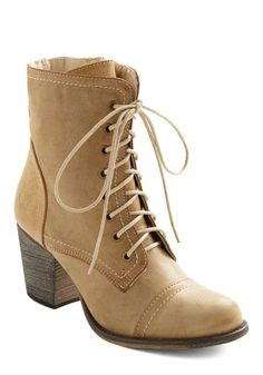 Toes in the Sandy Boot - Tan, Solid, Mid, Lace Up, Casual, Safari, Rustic, Fall, Steampunk, Faux Leather