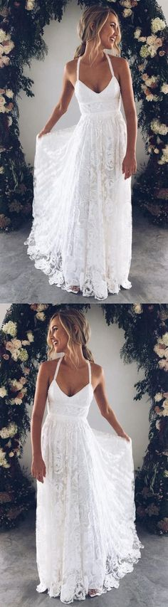 White Bridal Dress V Neck Party Dress Spaghetti Prom Dress Lace Long Prom Dress, White Evening Dress Wedding Dress Charming Bridal Dresses Wedding Gown evening gowns for wedding White Bridal Dresses, Bridal Gowns, Wedding Gowns, Prom Dresses, Bride Dresses, Wedding Ceremony, Beach Wedding Dresses, Dress Prom, Destination Wedding Dresses
