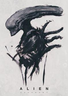 Abomination Imagery — Alien print Credits to the artist Alien Vs Predator, Alien Films, Aliens Movie, Arte Alien, Alien Art, King Kong, Saga Art, Giger Alien, Giger Art