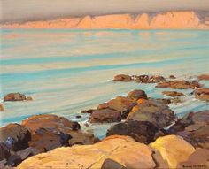 Alfred Mitchell. Quiet Sea (La Jolla Cliffs).Oil on Canvas.16 x 20.  Alfred Mitchell (1888-1972) was a San Diego Painter, and student of Maurice Braun  Journal of San Diego History (link)