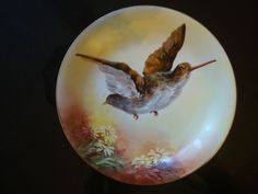 ANTIQUE LIMOGES FLAMBEAU HAND PAINTED SIGNED PLATE, BIRD & DAISY, 10""