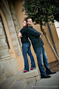 was a significant height difference with this couple, (even with her high heels,) so I attempted to show that off in this pose/image. Tall and petite engagement pictures.