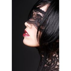 'Sexy Black Lace Mask / pseudo Blindfold' by KvO Design via Etsy. #blacklace #lace #lacemask #veiled #veiledeyes #veil