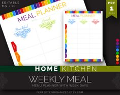 Weekly Meal Menu Planner days of the week by PerfectlyOrganized, $2.00