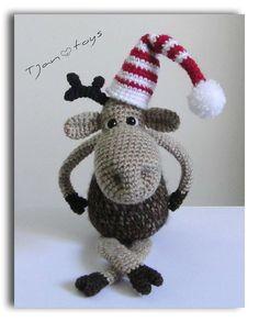 Christmas Moose OOAK Stuffed Animals Crochet Handmade Soft toy decor $ 53