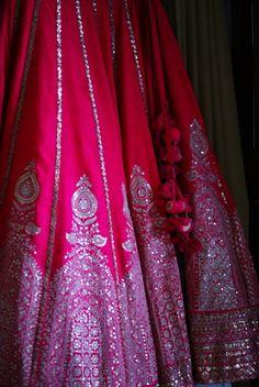 raspberry pink lehenga, raw silk, temple motif, large border, sabyasachi,