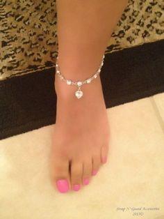 Chic Sexy Versatile Heart Anklet Bracelet Swarovski Elements Crystal, 18k White Gold plated Jewelry