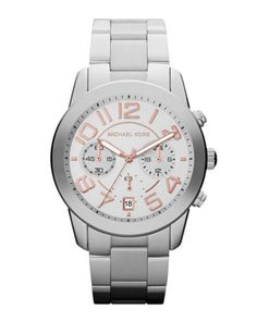 Michael Kors Mid-Size Silver Color Stainless Steel Mercer Chronograph Watch.