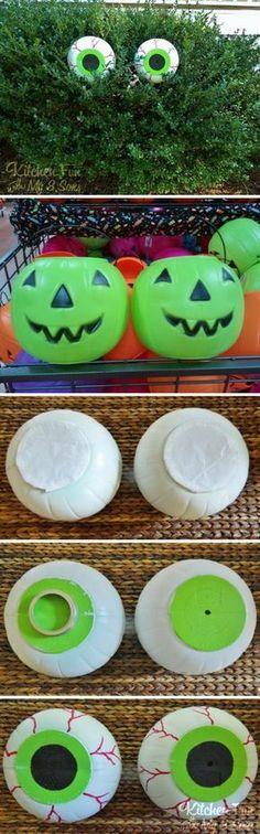 Dollar Store Spooky Bush Eyes.