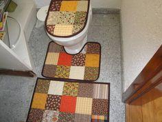 Conjunto para banheiro Patchwork 3 peças.    Outras opções de cores, sob encomenda.