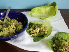 A plant-based creamy broccoli salad - great for a picnic or vegetable powered lunch. Cabbage Wraps, Vegan Roast, Broccoli Salad, Plant Based Recipes, Fresh Rolls, Picnic, Cups, Lunch, Vegetables