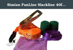 """Simian FunLine Slackline 40ft Kit with Helpline. The Simian Slackline is a great for beginners to intermediate users. You only need two mature trees or other sturdy anchor points. The 2"""" webbing provides a good starting point to learn to slackline. The Simian Slackline enables anyone to get an easy start into the sport. Setup in a few minutes and start improving your core and balance. Included Help Line accelerates the learning curve."""