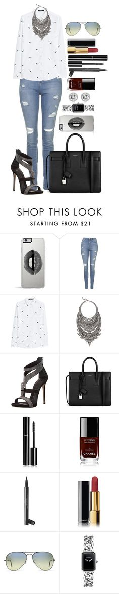 """Untitled #1352"" by fabianarveloc on Polyvore featuring Lipsy, Topshop, MANGO, DYLANLEX, Giuseppe Zanotti, Yves Saint Laurent, Chanel, Ray-Ban, Michael Kors and women's clothing"