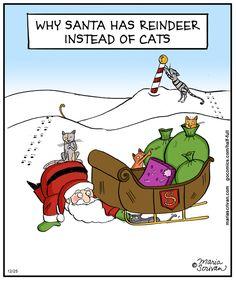 Why Santa has reindeer instead of cats | Half Full (2013-12-25) via GoComics