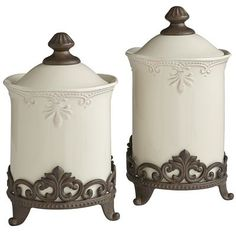 Abigail Canisters & Stands PIER ONE.  Got these for Christmas! I love them.