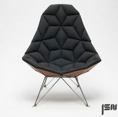 JSN design assembles diamond-shaped tiles into chair. #ADShow2015 #ArchitecturalDesignShow2015 #NYDesignEvents #luxuryfurniture #exclusivefurniture