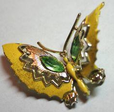 Vintage green rhinestone yellow enamel butterfly pin by lbjool, $20.00