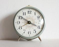 Clock, Soviet Alarm Clock, Jantar Soviet Union Home Decor Desk Clock, Office Decor, Modern Gray Spring, ohtteam