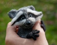Felted raccoon felt animal wool toy felting glass by byMagic