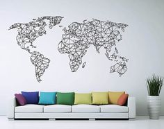 Polygonal / Geometrical world map Sticker Vinyl Wall Decal WD-0764 by Art4home, $39.99 USD
