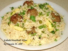 Beef kababs/meatballs cooked in pilau rice, with peas and french fries. Goes well with kachumbar and tomato chutney.