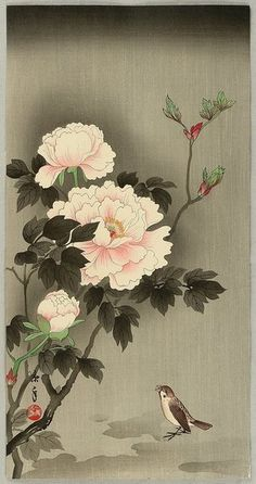Sparrow and Peonies by IMAO Keinen, 1930s, Japan