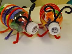 The Stuff We Do ~ Litter Bugs from small plastic water bottles (recycled) Earth Day Projects, Earth Day Crafts, School Projects, Projects For Kids, Bug Activities, Earth Day Activities, Valentine Activities, Water Bottle Crafts, Plastic Bottle Crafts