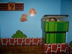 Storage/hamper made to look like Mario warp pipe Bedroom Themes, Kids Bedroom, Bedroom Ideas, Super Mario Room, Nintendo Room, Mario E Luigi, Geek Room, Video Game Rooms, Game Room Design