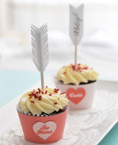 How cute are these cupid's arrow cupcake picks?