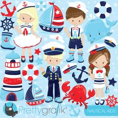 Nautical sailor kids clipart