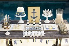 nautical baby shower dessert table by The TomKat Studio for Pottery Barn