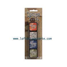 El kit 5 de las Mini Distress Ink Pad contiene las siguientes tintas y almohadillas: Barn Door, Pumice Stone, Faded Jeans y Peeled Paint. Tintas disponibles en nuestra tienda online www.lafiestadelarte.com