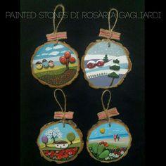 Tondini in legno decorati Le quattro stagioni