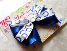 Blue and White with Blue Horseshoe Colts Ribbon Hair by Bloomzies, $6.00