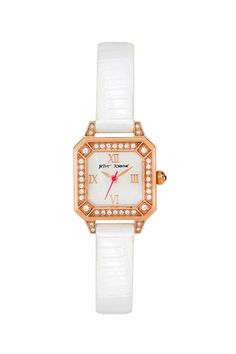 Women's Crystal Embellished Rose Gold-Tone White Genuine Leather Watch by Betsey Johnson Jewelry & Watches on @HauteLook
