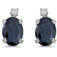 14k White Gold Oval Sapphire And Diamond Earrings (CM-E6411XW-09) ($217) ❤ liked on Polyvore featuring jewelry, earrings, 14 karat gold diamond earrings, white gold earrings, white gold jewelry, diamond jewelry and diamond jewellery