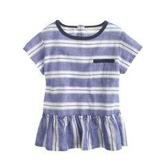 Girls' linen peplum top in multistripe : shirts | J.Crew