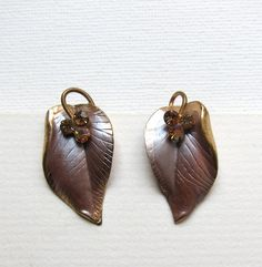 Vintage retro mauve enamel and gold leaf earrings with swarovsky aurora borealis crystals